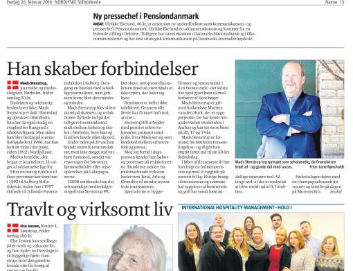 Nordjyskes portrætomtale af Mads Stenstrup og Stenstrup PR i anledning af hans 50 års fødselsdag, den 28. feb. 2016.