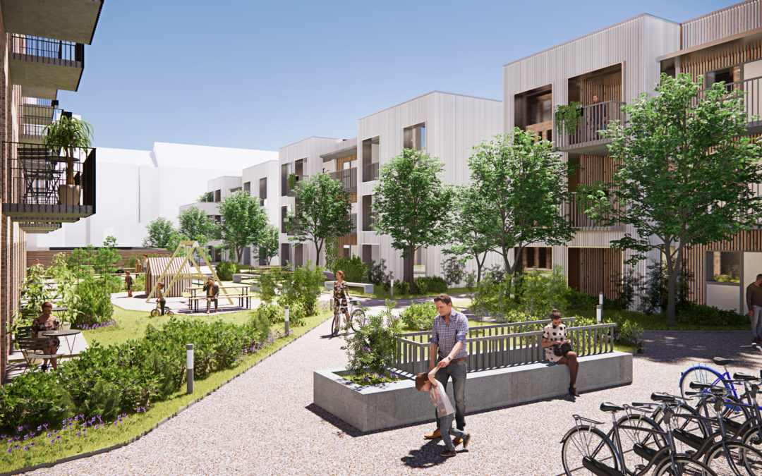 Flotte boliger danner ramme om nyt grønt pusterum i midtbyen
