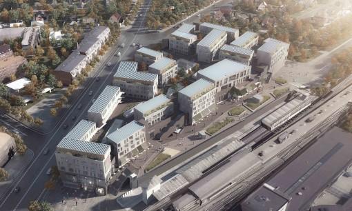 Kronen, som bolig og shoppingcenter-projektet kommer til at se ud fra luften.
