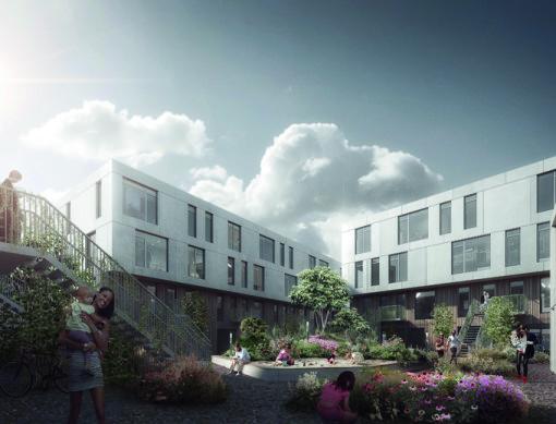 Sangberg Architects illustrationer fra forskellige vinkler af Kronen Vanløse, når byggeriet står færdigt. Her ses byggeriet inde fra gårdhaven i 12 meters højde.