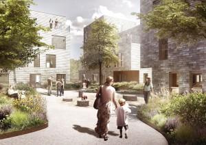 Scandi Byg skal levere den seneste version af AlmenBolig+ - riol boligforening i Ørestaden. Animation: ONV Arkitekter